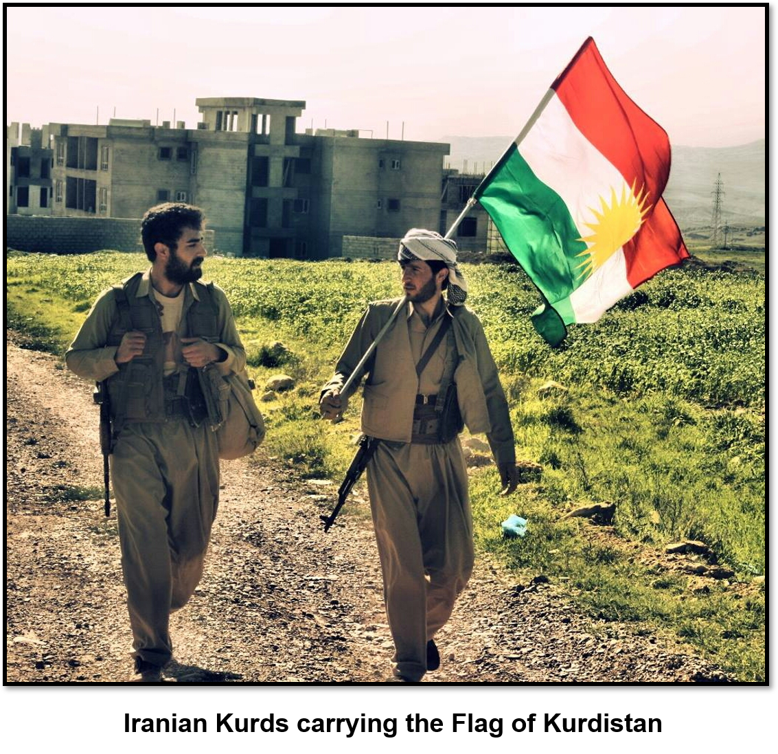 Iranian Kurds with Kurdistan Flag