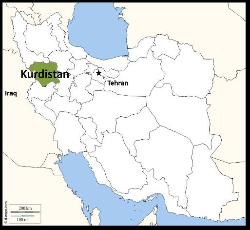 Iranian Kurdistan Map