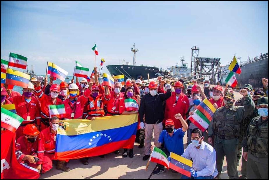 An Iranian tanker crew celebrates in Paraguana, Venezuela