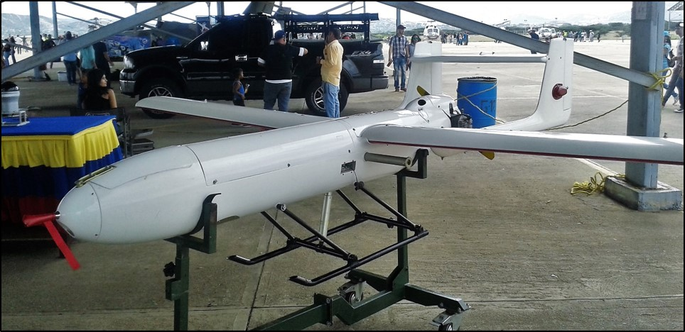 Venezuelan Arpía, a license-built copy of the Iranian Mohajer-2 drone, exhibited during the Balanda 2016 aeronautical fair