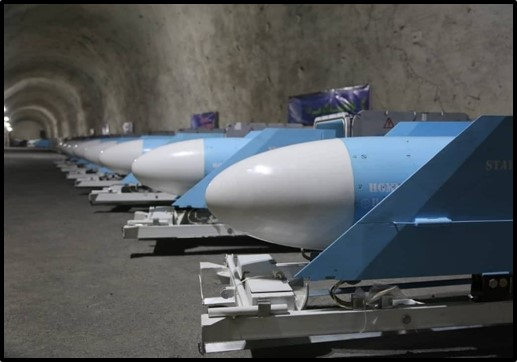 Cruise missiles in an underground base along the Gulf