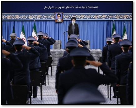 Khamenei speaks with officers on Feb. 8