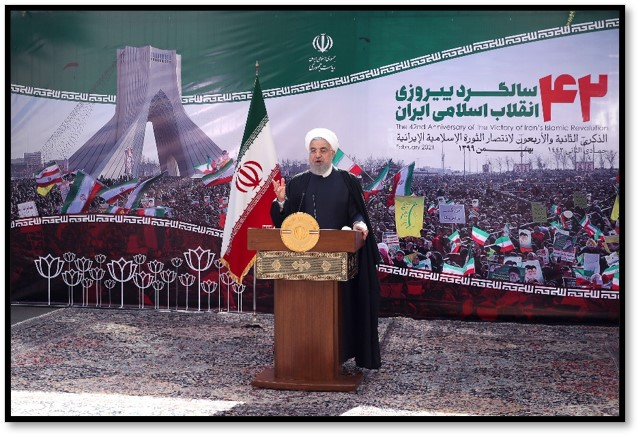 Rouhani delivers a speech on Feb. 10