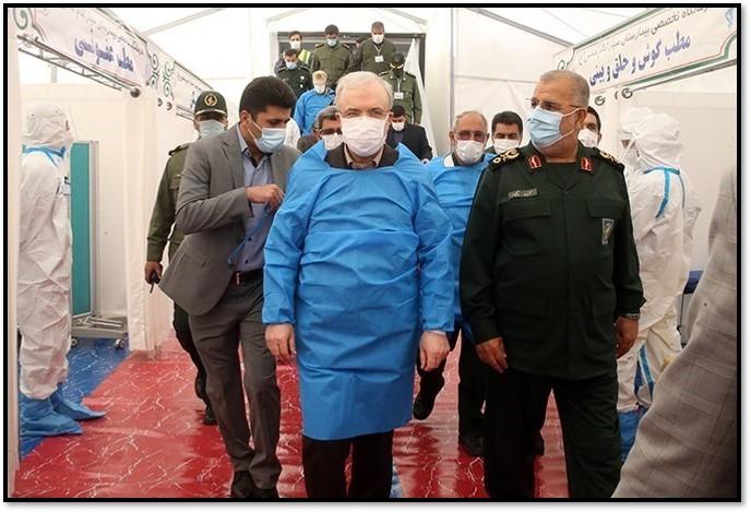 Health Minister Namaki (center) tours an IRGC mobile hospital