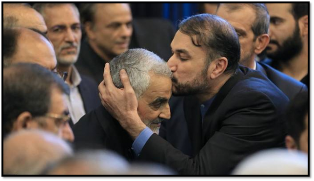 Amir-Abdollahian kissing Soleimani's head