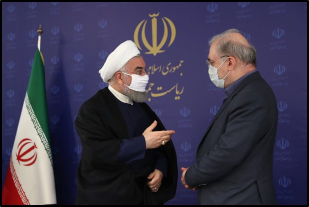 Rouhani wears a mask at a coronavirus task force meeting