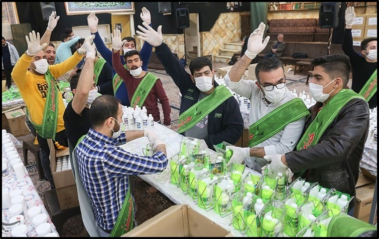 A charity group distributed sanitary supplies in Tehran