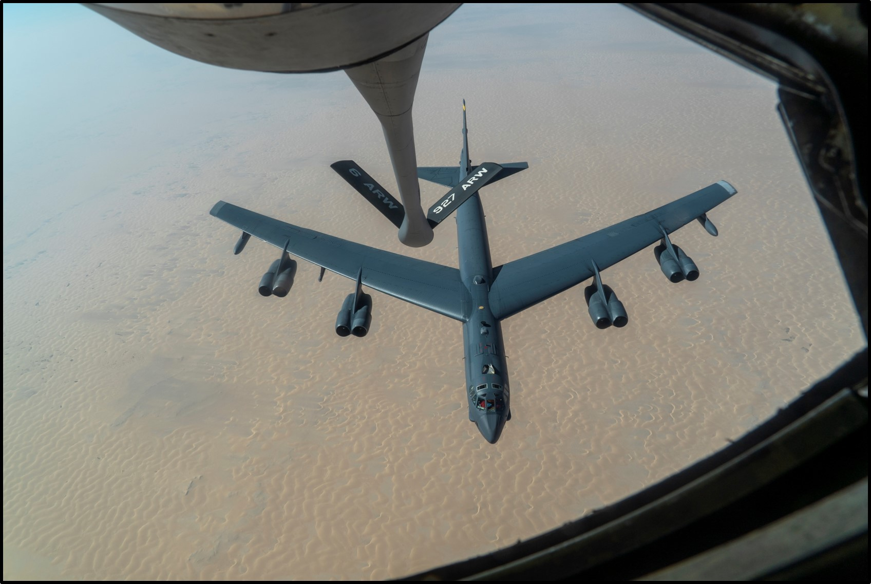 A B-52 bomber after aerial refueling