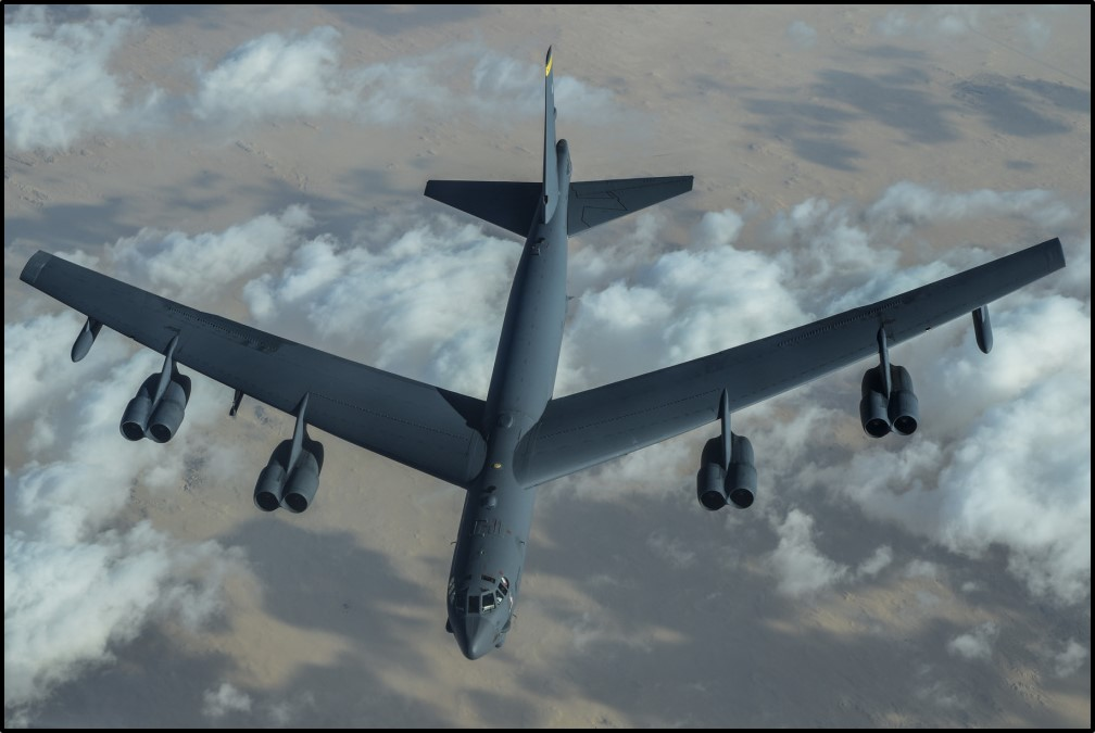 A B-52 bomber after midair refueling