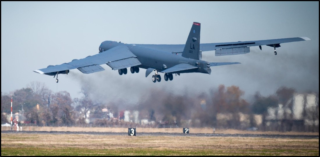 A B-52 bomber takes off from Barksdale Air Force Base