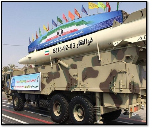 A Zolfaghar missile, with a range of 700 km (440 miles), at a military parade in September 2016