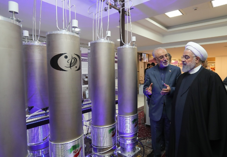 President Hassan Rouhani at an exhibit of nuclear technology, April 2019
