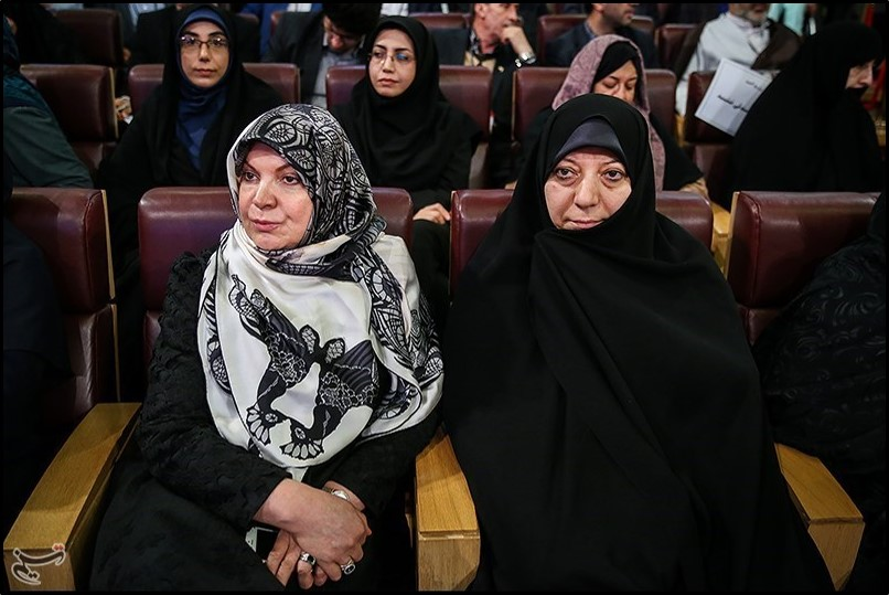 Parvaneh Mafi (right), an elected MP, and Hamideh Moravej Farshi (left), wife of reformist faction leader Mohammad Reza Aref, in 2016
