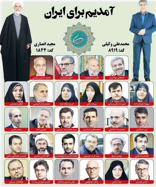Coalition for the Future of Iran list