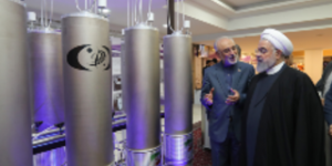 Hassan Rouhani at a nuclear exhibition